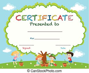Certificate template with kids planting trees