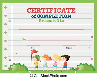 Certificate with children in background illustration for Walking certificate templates