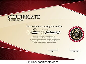 certificate template with Luxury RED elegant pattern, Diploma design graduation, award, success.Vector illustration