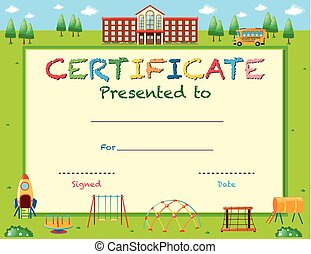 Certificate template for reading award with students in vector certificate template with school in background yadclub Images