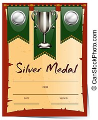 Certificate template with silver medal