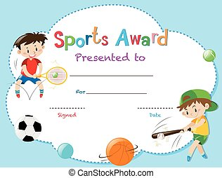 Sports star certificate template with kids playing sports clip certificate template with two boys playing sports yadclub Gallery