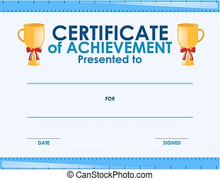 Certificate template with two trophies