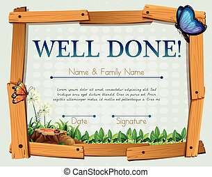 Certificate with grass and butterflies background