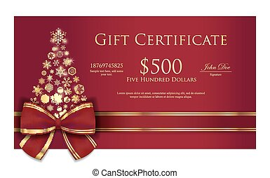 certificate_brown_christmas_tree_gold - Exclusive Christmas...