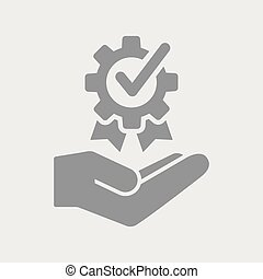 Certificated quality service - Flat and isolated vector...