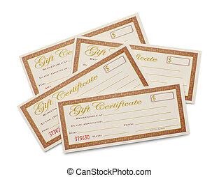 certificaten, cadeau