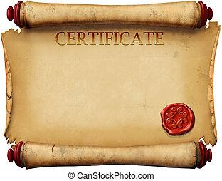 certificaten, met, was, postzegel