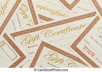 certificaten, stapel, cadeau