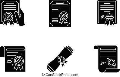 Certificates black glyph icons set on white space. Apostille...
