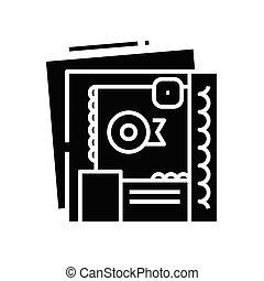 Certificates black icon, concept illustration, glyph symbol, vector flat sign.