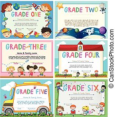 Certificates with education theme background