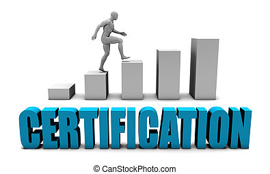 Certification 3D Concept in Blue with Bar Chart Graph