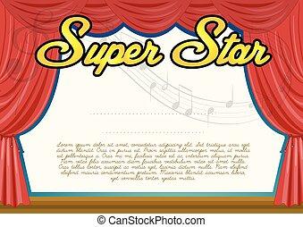 Certification template for super star illustration