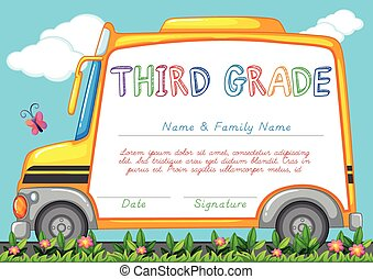 Certification template for third grade students