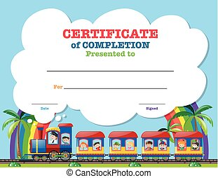 Certification template with children on the train