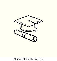 certificato, berretto, laureato, disegnato, icon., mano