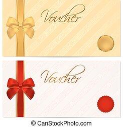 certificato, buono, coupon., arco regalo