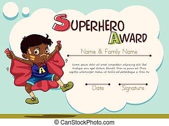 certificato, con, ragazzo, essendo, superhero, fondo