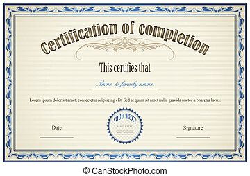 certificato, di, completamento