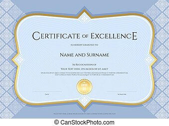 certificato, di, realizzazione, sagoma, in, vettore, con, applicato, tailandese, arte, fondo, blu, colorare