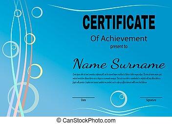 certificato, di, realizzazione, sagoma, in, vettore
