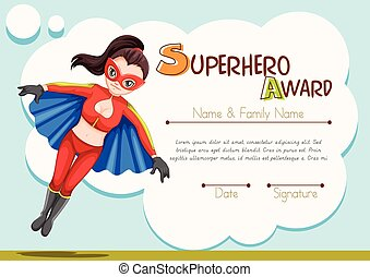 certificato, disegno, con, superhero, fondo