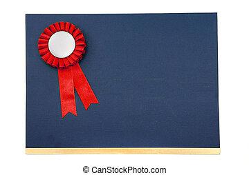 certificato, e, nastri premio, distintivo