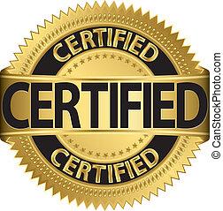 certificato, etichetta, vettore, dorato, illu