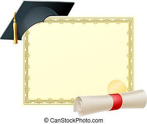 certificato, fondo, laureato