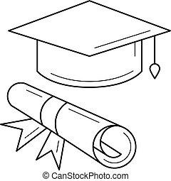 certificato, grado, berretto, laureato, icon., linea