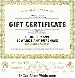 certificato regalo, vendemmia, vettore, ornamenti, oro, sagoma