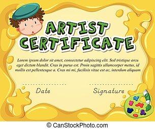 certificato, sagoma, artista