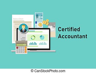 Certified accountant CA paper calculator laptop with people business smile. Business concept of accountant education certification.