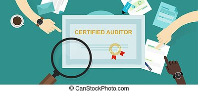 certified auditor in internal financial certification and information technology company hand working on data with magnifier
