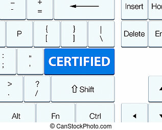 Certified blue keyboard button
