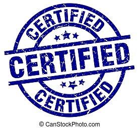 certified blue round grunge stamp