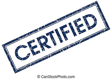certified blue square stamp