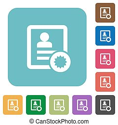 Certified contact rounded square flat icons