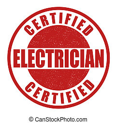Certified electrician stamp - Certified electrician grunge...
