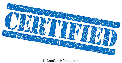 Certified grunge blue stamp