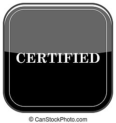 Certified icon - Glossy shiny icon - black internet button