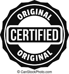 Certified logo, simple style.