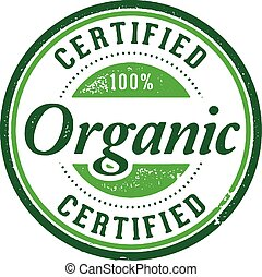 Vintage style stamp. Certified 100% organic.