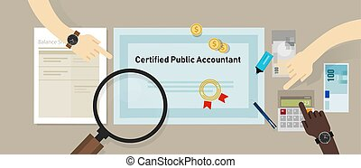 Certified public accountant CPA paper on a table. Business concept of accountant education certification.