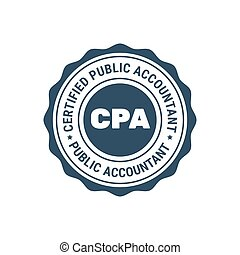 Certified public accountant sign or stamp, CPA bookkeeper seal, accounting badge