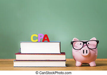 Certified Public Accountant theme with pink piggy bank with...