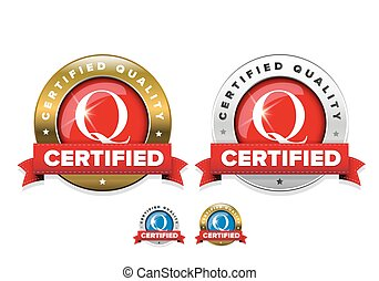Certified quality badge with red ribbon