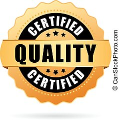 Certified quality gold seal icon