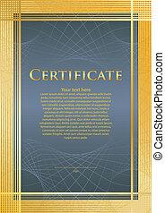 certifikate, blue/gold